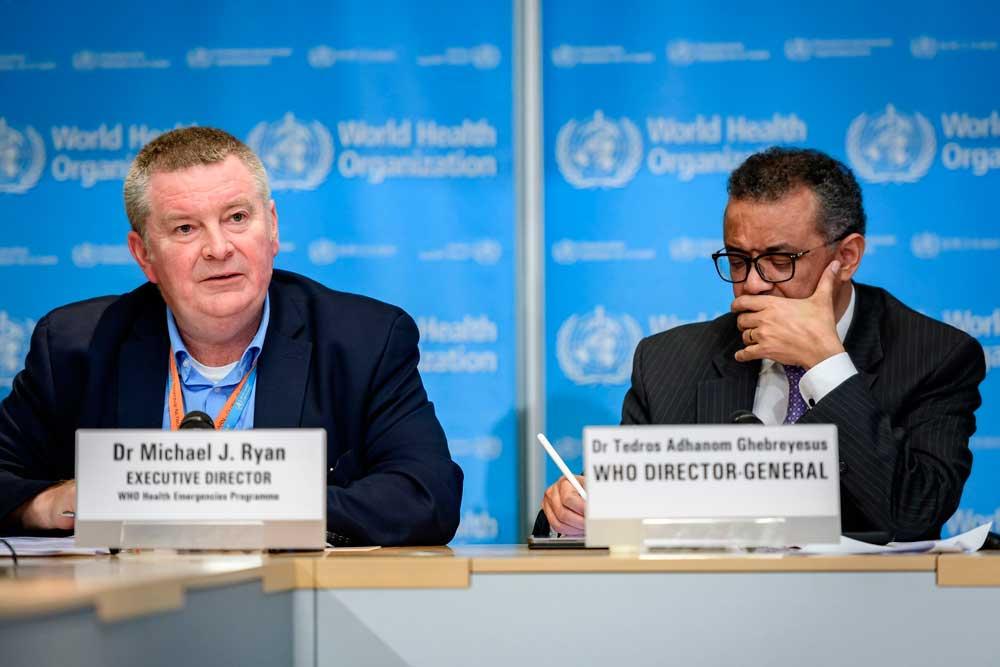 Michael Ryan de la OMS, dando una rueda de prensa acerca del coronavirus